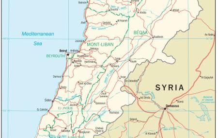 Mapa do Líbano