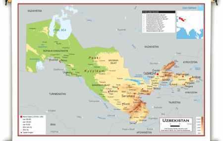 Mapa do Uzbequistão