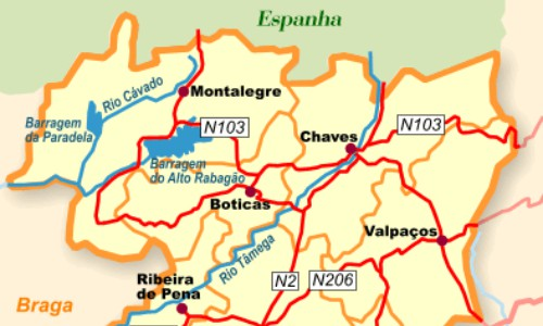 Mapa Do Distrito De Vila Real Portugal