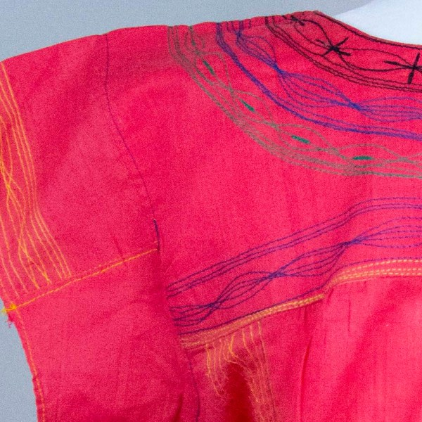 Mexican traditional handmade embroidered blouse close up