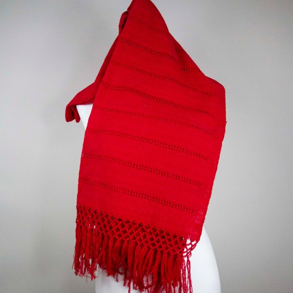 Front view of a Traditional Handwoven Mexican Red Shawl Scarf Wrap made of 100% cotton on a mannequin