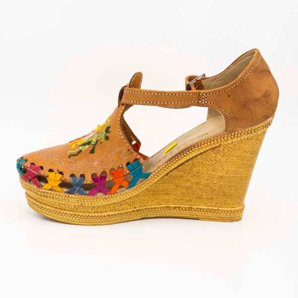 amantli mexican handmade women camelia huarache sandal shoe honey inner view