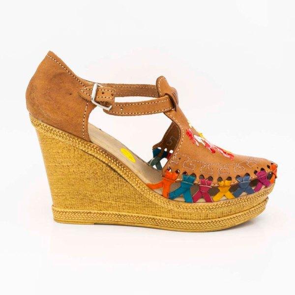 amantli mexican handmade women camelia huarache sandal shoe honey outer view