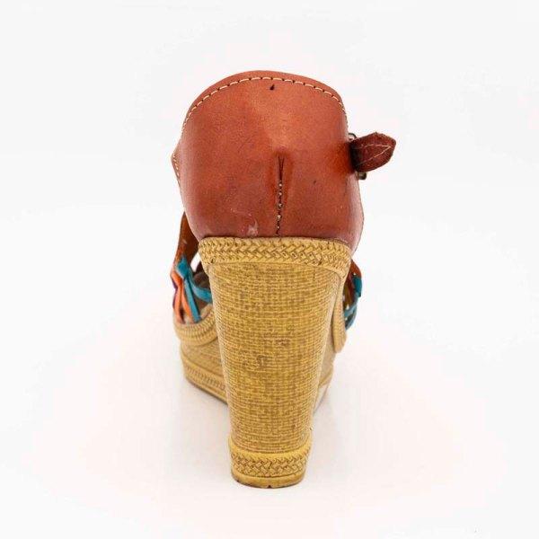 amantli mexican handmade women camelia orange huarache sandal shoe heel view