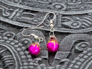 Christmass balls handblown glass pink earrings