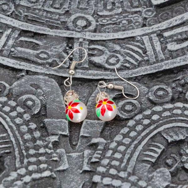 Christmass Poinsettia handblown glass earrings