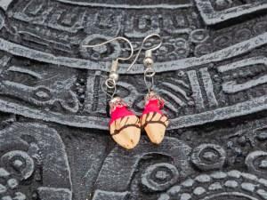 Cute handblown glass pink ice cream cone earrings