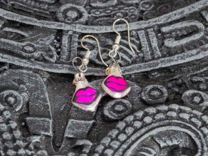 Cute handblown glass pink kiss earrings