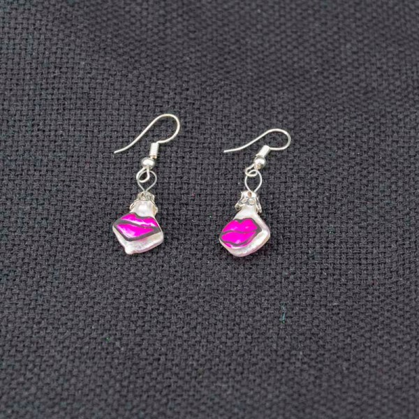 Cute handblown glass pink kiss earrings