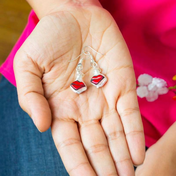 Cute handblown glass red kiss earrings