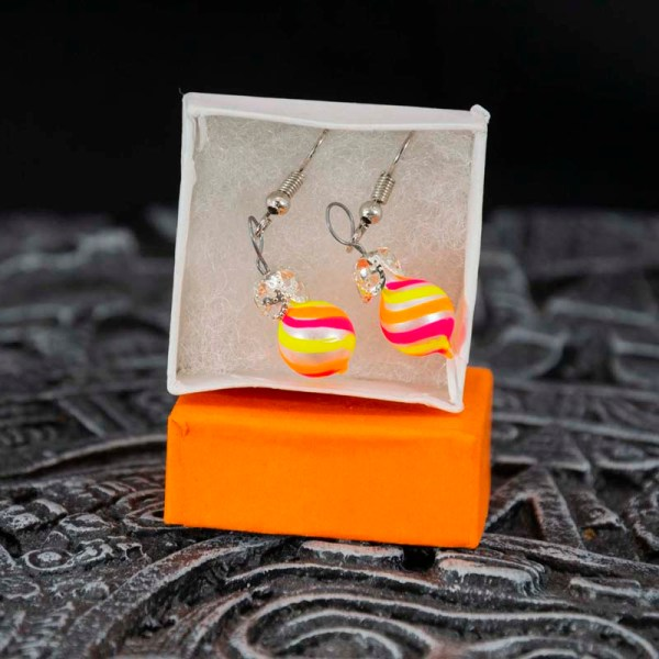 swirl-hand-blown-glass-pink-yellow-orange-earrings-121