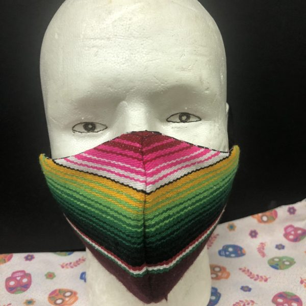 Maniqui with handmade Mexican Sarape Face Mask-02