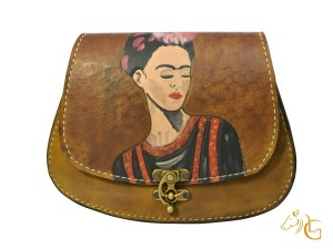 Handmade Hand painted Frida Kahlo Mexican Leather Cow hide purse handbag-106
