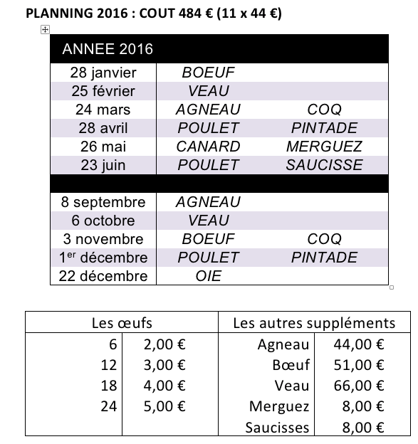planning 2016 amap des perce-neige à Nancy