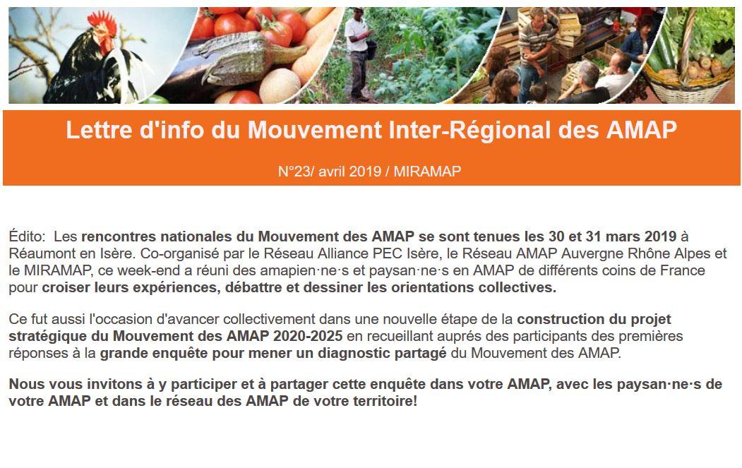 Édito:  Les rencontres nationales du Mouvement des AMAP se sont tenues les 30 et 31 mars 2019 à Réaumont en Isère. Co-organisé par le Réseau Alliance PEC Isère, le Réseau AMAP Auvergne Rhône Alpes et le MIRAMAP, ce week-end a réuni des amapien·ne·s et paysan·ne·s en AMAP de différents coins de France pour croiser leurs expériences, débattre et dessiner les orientations collectives.   Ce fut aussi l'occasion d'avancer collectivement dans une nouvelle étape de la construction du projet stratégique du Mouvement des AMAP 2020-2025 en recueillant auprés des participants des premières réponses à la grande enquête pour mener un diagnostic partagé du Mouvement des AMAP.  Nous vous invitons à y participer et à partager cette enquête dans votre AMAP, avec les paysan·ne·s de votre AMAP et dans le réseau des AMAP de votre territoire!