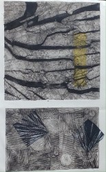 second state of top image cut paper and carborundum grit