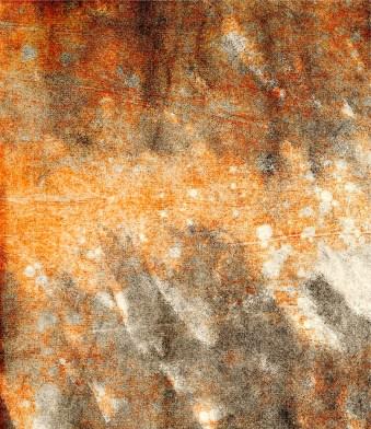 flock paint roller to wipe away of the grey ink printed on to last years orange mono print