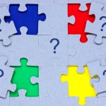 Problem solving concept. Puzzle with question marks on it.