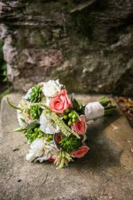 Old Mill Pink and White Rose Bouquet
