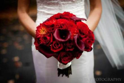 Red, Fall Bridal Bouquet, Wedding Flowers, Gladwyne, PA Amaranth Florist