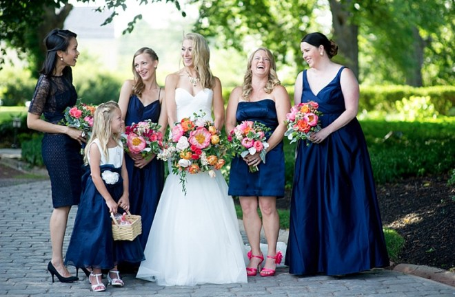 royal blue bridesmaids, pink, orange bouquet, Amaranth Florist