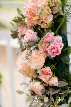 close up pink flowers wedding arch amaranth florist narberth pa