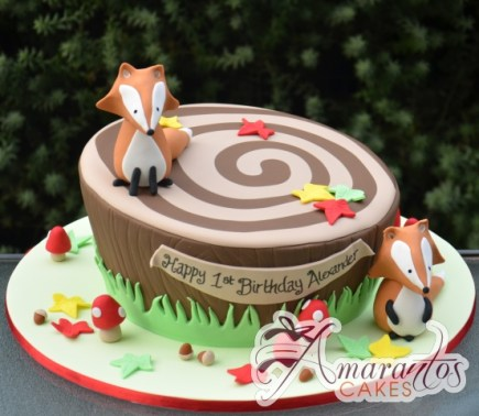 Forest Themed Cake With Fox - Amarantos Designer Cakes Melbourne