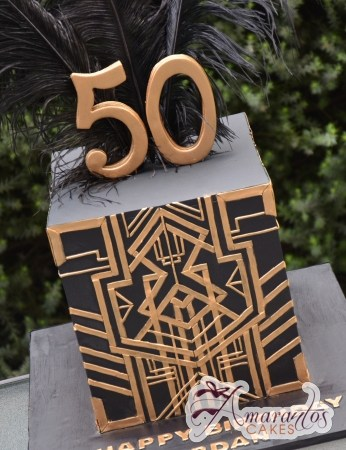 Two tier Gatsby/Art Deco theme cake – AC343