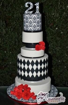 Seven Tier Damask Cake – AC353