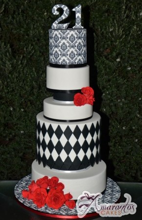 Seven Tier Damask Cake – AC353