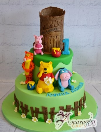 Two Tier With Pooh Bear Cake - Amarantos Cakes Melbourne