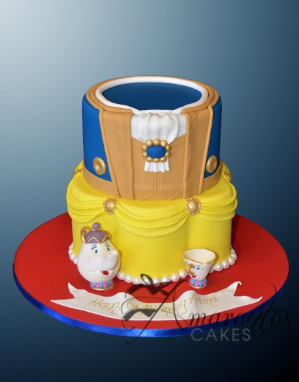 Two tier beauty and the beast cake AC506