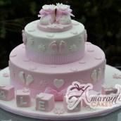 Two Tier Baby Booties Cake - Amarantos Designer Cakes Melbourne