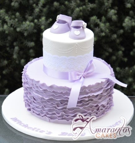 Lavender Booties Baby Girl Cake - Amarantos Designer Cakes Melbourne