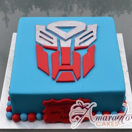 Square with Transformer Logo Birthday Cake - Amarantos Cakes Melbourne