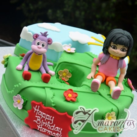 Number Cake With Dora and Boots - Amarantos Designer Cakes Melbourne