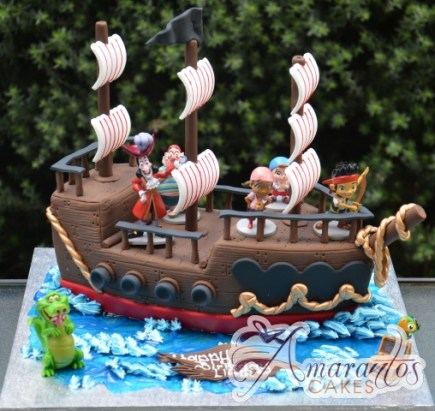 3D Pirate Ship Cake with Jake the Pirate - NC631 - Celebration Cakes Melbourne