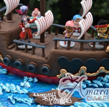 3D Pirate Ship with Jake the Pirate Cake - Amarantos Custom Made Cakes Melbourne