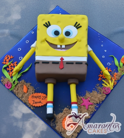 2D Sponge Bob- NC669 – Amarantos Cakes Melbourne