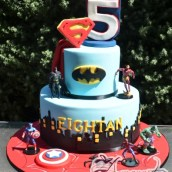 Two tier super hero cake - NC705 - Amarantos Cakes Melbourne