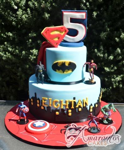 Two tier super hero cake – NC705 – Amarantos Novelty Cakes Melbourne