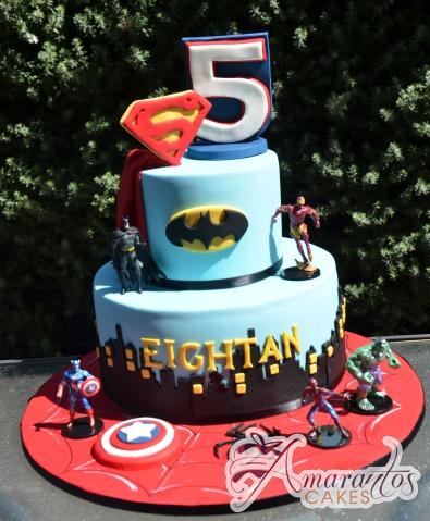 Two tier super hero cake - NC705 - Amarantos Designer Cakes Melbourne