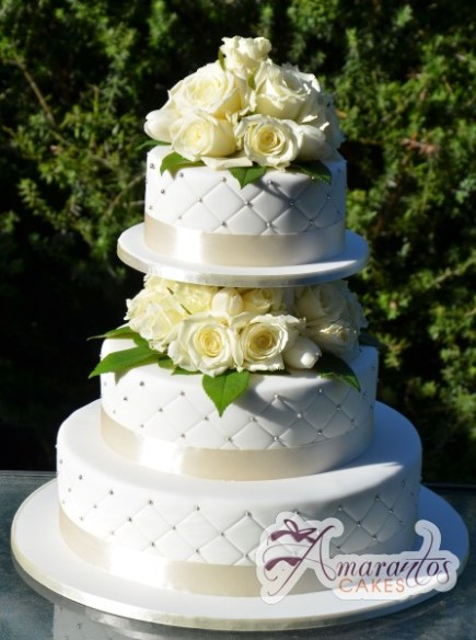 Three Tier Wedding Cake - Amarantos Cakes Melbourne