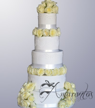 Five Tier Wedding Cake - WC111 - Amarantos Wedding Cakes Melbourne
