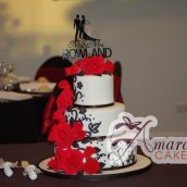 Three Tier red black wedding cake - Amarantos Designer Cakes Melbourne