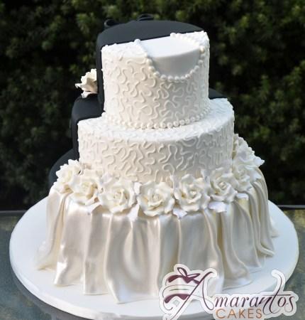 Three Tier Half and Half Wedding Cake - Amarantos Custom Made Cakes Melbourne
