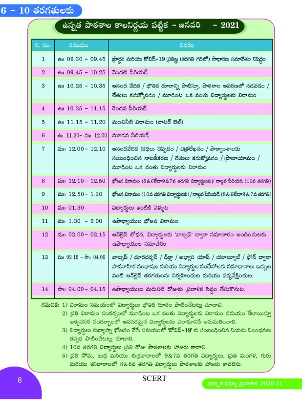 6 to 10th classes new time table 6 to 10th Classes New Time Table for Academic Calendar - 2020 - 21 - Time Table