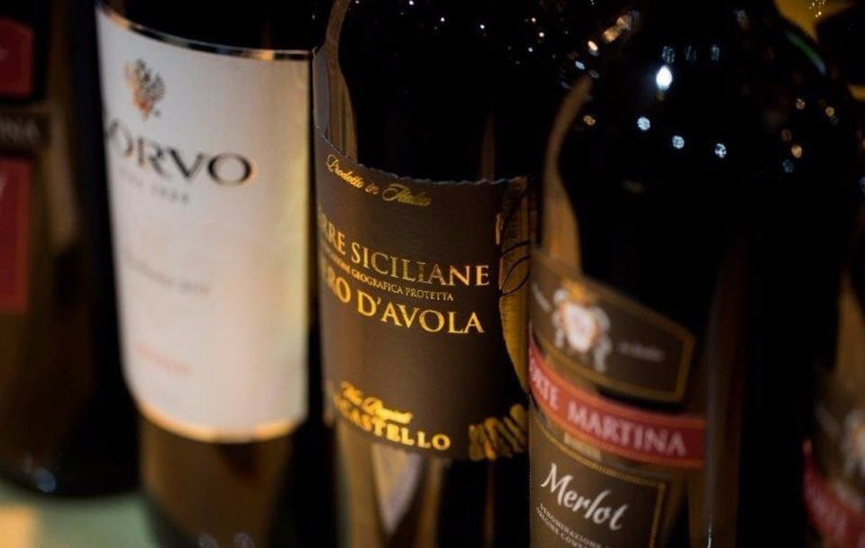 selected wines - corvo, merlot,chianti