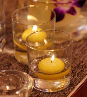 Close up shot of spa candles