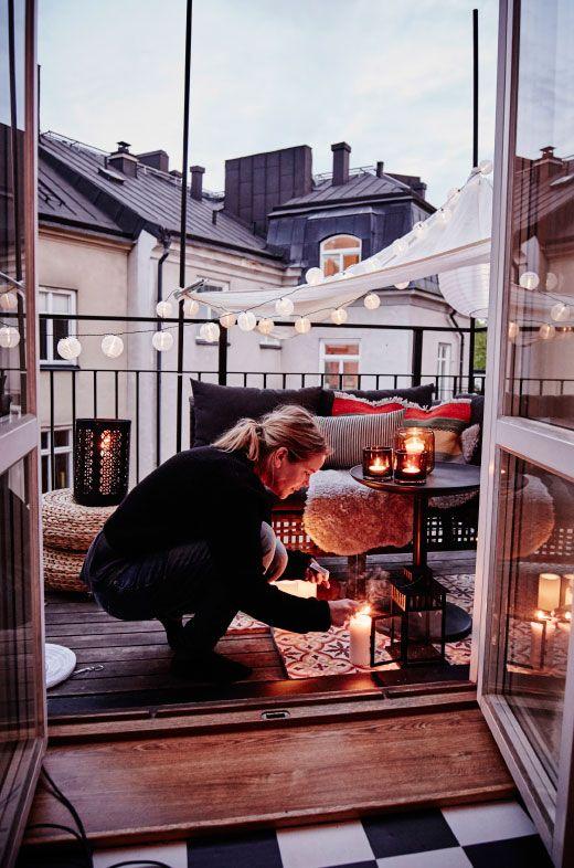ideas para decorar balcones pequeños con velas